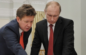 Alexei Miller (left) and Vladimir Putin
